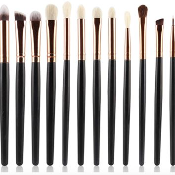 12 Piece Eyeshadow Brushes, Multiple Colors