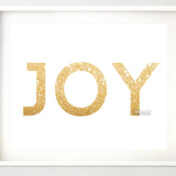 "10x8"" & 7x5""- Gold Christmas printable art ""JOY"" gold glitter typography quote print, holiday wall decor, joy art print, gold word -gp133"