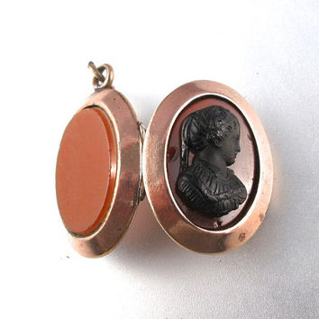 VICTORIAN MOURNING JEWELRY locket cameo stone glass carnelian agate gold filled. watch fob. antique. Cecile Stewart . Partsforyou No.001290