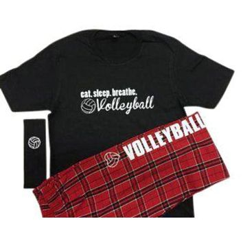 Volleyball Pajama Gift Set Eat. Sleep .Breathe. Pant and Short Sleeve BlackTee