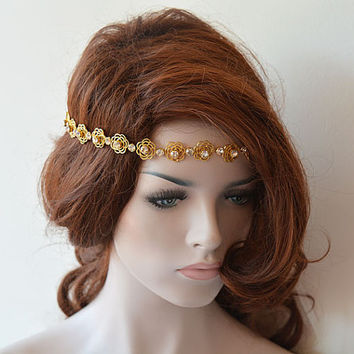 Wedding Hair Accessories,  Golden Wedding Headbands, Bridal Hair Accessories, Gold Hair Accessory, Bridal Headband, Wedding  Headband