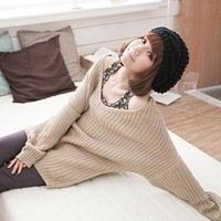 Stylish Pure Color Plait Pattern V-neck Design Loose Top Sweater Kahki-Wholesale Women Fashion From Icanfashion.com