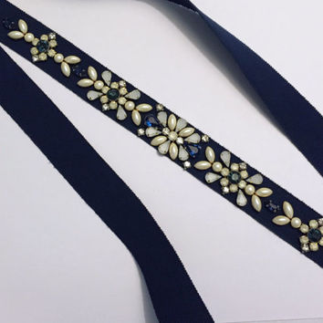 Navy, Sapphire, Opal and Ivory Geometric Floral Crystal and Pearl Grosgrain Ribbon Bridal Sash