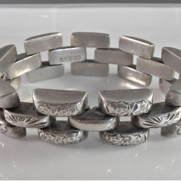 Art Deco Sterling Panther Link Bracelet, Etched Flowers, Hidden Clasp, Heavy 97 Grams