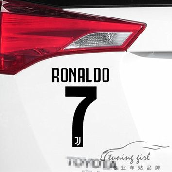 Car Stickers Italy Football Juventus Cristiano  Ronaldo No.7 Creative Decals Vinyls Auto Tuning Styling 15x10cm 20x14cm D16