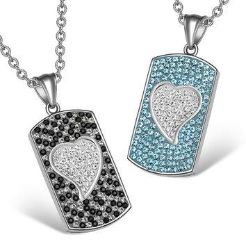 Magic Hearts Austrian Crystal Love Couples or Best Friends Dog Tag Aqua Blue White Jet Black Necklaces