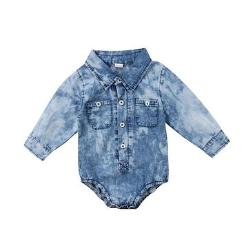 Baby Boys Girl Denim Romper Newborn Infant Baby Boy Girl Jean Long Sleeve Romper Newest Jumpsuit Spring Baby Clothing