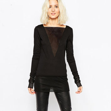 Black Sheer Mesh Deep V-Neck Long Sleeves Top