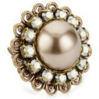 "Liz Palacios ""Perlas"" Crystal And Pearl Ring - designer shoes, handbags, jewelry, watches, and fashion accessories 