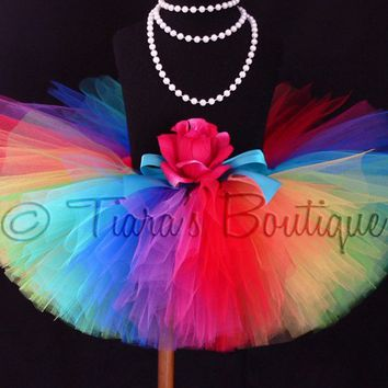 Adult Tutu - Teen Tutu - Imagine - Extra Full Rainbow Tutu - Custom Sewn Tutu - up to 12'' Long