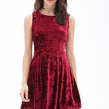 FOREVER 21 Velveteen Fit & Flare Dress