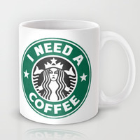 I need a coffee! Mug by John Medbury (LAZY J Studios)