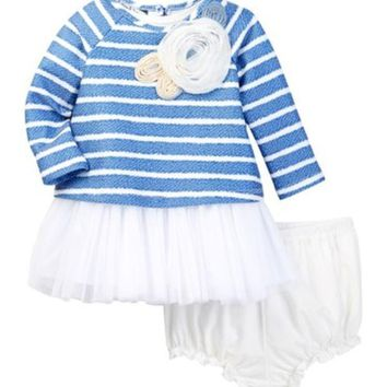 DCCKHB3 Pippa & Julie | Long Sleeve Striped Tulle Skirt Dress & Bloomer Set (Baby Girls)