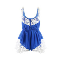 Blue Lace Sleeveless Romper with Elastic Waist