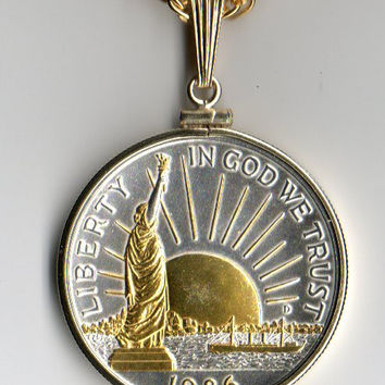 2-Toned Gold & Silver Statue of Liberty half dollar  Necklace