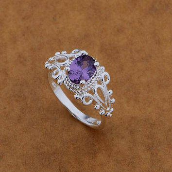 Silver Plated Purple Stone Ring