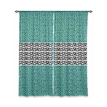 Aztec Tribal Design Curtain - Modern Turquoise Geometric Pattern Minimal Window Treatment