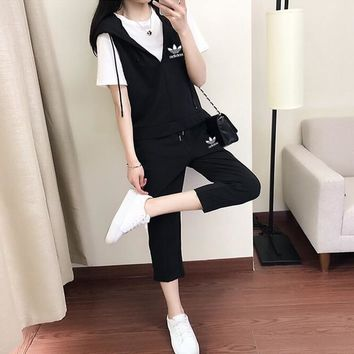 Adidas Women Casual Fashion Short Sleeve T-shirt Sleeveless V-Neck Hooded Vest Trousers Set Three-Piece Sportswear