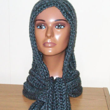 Hooded Scarf in Gray, Handmade Crochet, Hoodie Scarf, Double Stranded