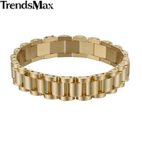 Trendsmax 10/13.5mm Wide Womens Chain Girls Boys Silver Gold Color Watchband Link Stainless Steel Bracelet KB432-KB435