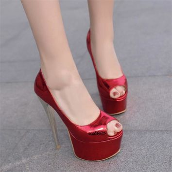 PXELENA 2018 Sexy Super Spike High Heels Womens Thick Platform Pumps Peep Toe Wedding Shoes NightClub Gold Silver Red Pink 34-43