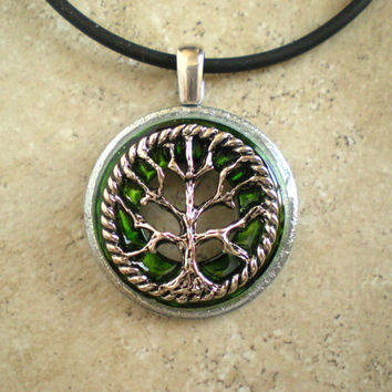 Tree of Life Necklace: Green - Wiccan Pendant - Celtic Jewelry - Tree Jewelry - Washer Jewelry - Elemental Jewelry - Unique Jewelry