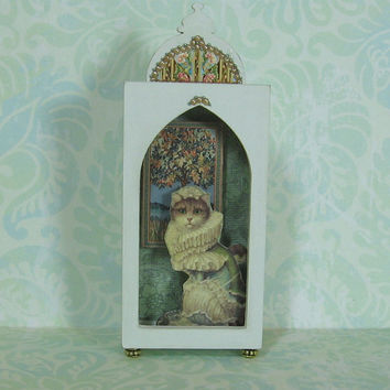Miniature Shadow Box with Elegant Cat - In Pale Sage Green