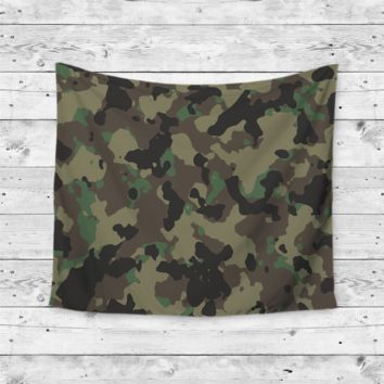 """Green Camo"" Camouflage Wall Tapestry"