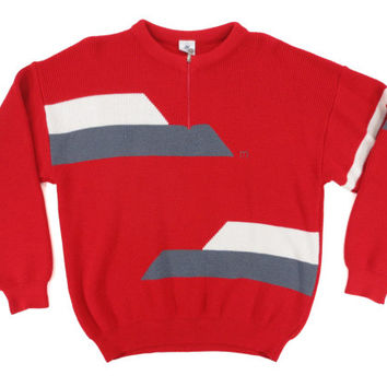 Vintage Red Ski Sweater - Grey White Striped 80's 90's Jumper Knit - Men's Size Large Extra Large Lrg XL L