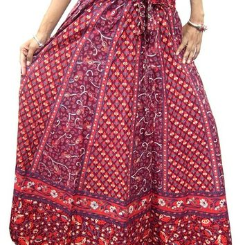 Womans Maxi Boho Gypsy Peasant Skirt Red & Maroon Cotton Vintage Skirts
