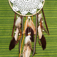 Dream Catcher - Tribal - Doily - Large - Brown, White, Earth