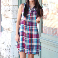 She's Gone Country Plaid Dress {Blue Mix}