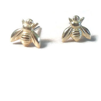 Tiny Gold Bee Stud Earrings on 925 sterling silver posts