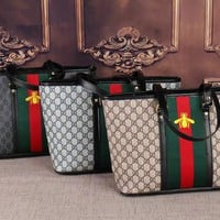 """Gucci"" Fashion Classic Double G Multicolor Little Bee Embroidery Tote Single Shoulder Messenger Bag Women Large Handbag"