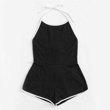 Black Halter Sleeveless Playsuits Women Summer Backless Knot Back Romper Sexy Beach Wear O Neck Romper