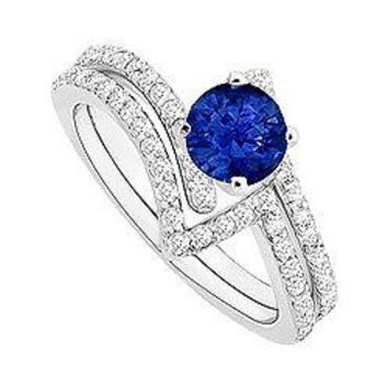 Sapphire and Diamond Engagement Ring with Wedding Band Set : 14K White Gold - 1.00 CT TGW