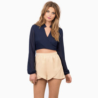 V-neck Puff Sleeve Wrap Cropped Blouse