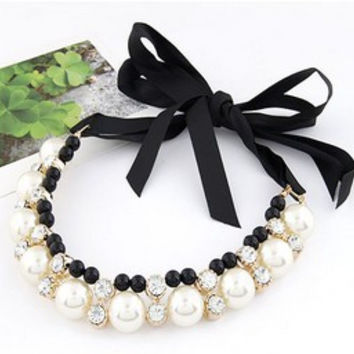 Best Deal Diomedes Women Double Row Adjustable Band Ribbon Beads Rhinestone Necklace Imitation Pearl Chokers Necklaces Gift N102