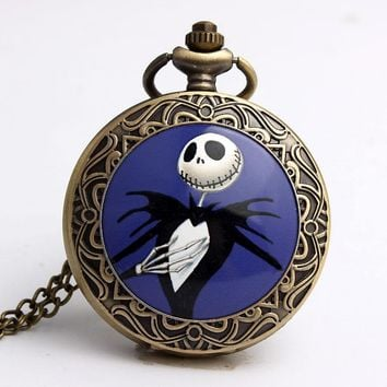 Vintage Bronze Jack Nightmare Before Christmas Skull Skeleton Quartz Pocket Watch Necklace Chain Halloween Men Women Watch Gifts