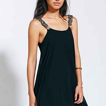 Oh My Love Beaded Strap Trapeze Dress-