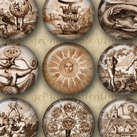 "1"" Digital Ancient ALCHEMY Circles for Instant Download"