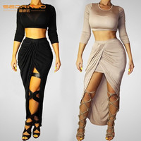 Women Fashion Long sleeves Round Collar Party Dress Irregular skirt Sexy Black Bandage Night Club dress Bind belt Hollow skirt Two-piece outfit = 1946324868