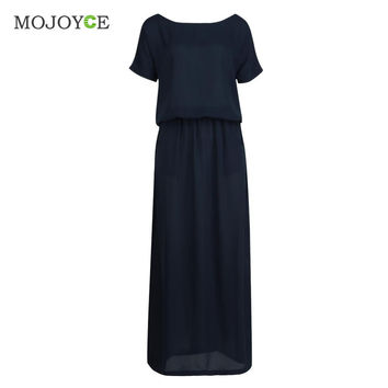 09c2a33312 Sexy Casual Sleeveless Evening Party Women Dress vestidos Off shoulder  Chiffon Long Dress vestido de festa