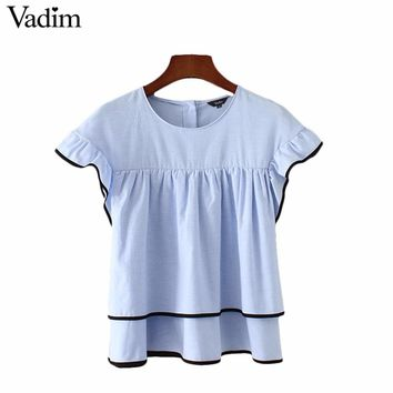 sweet ruffles pleated doll shirts butterfly short sleeve double layers cute blouse ladies casual tops