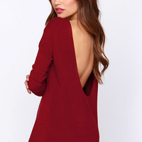 LULUS Exclusive Won't Back Down Burgundy Long Sleeve Sweater Top