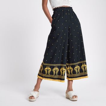 Navy embroidered fringe hem trousers - Wide Leg Trousers - Trousers - women