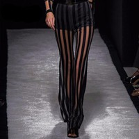 VONE7HQ Black and Transparent Striped Pant & High Waist Undergarment