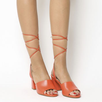 Office Miffi Tie Block Sandals Red Leather - Mid Heels