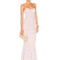 Norma Kamali Corset Gown in White Lace   FWRD