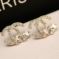 Chanel Popular Women Personality Brilliant Cut Logo Earring+Best Gift